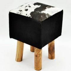 BLACK AND WHITE COW-HIDESTOOL 45x30x30cm