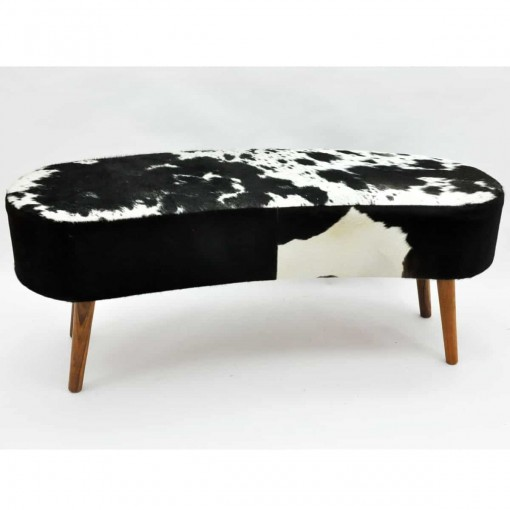 BLACK AND WHITE COW-HIDE BENCH 48x120x50cm