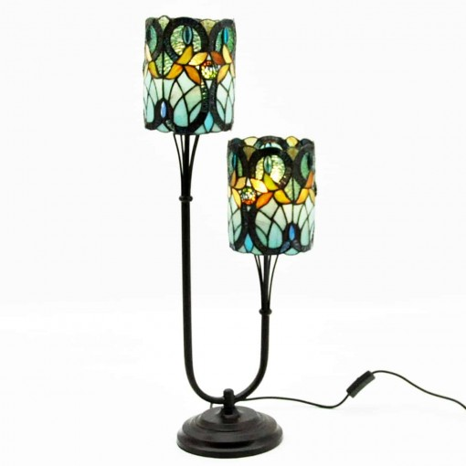 "6"" SHADE TWIN STEM TIFFANY LAMP"